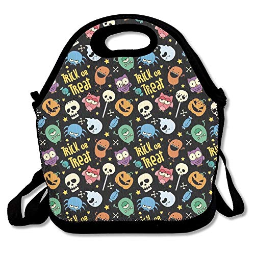 Trick Or Treat Cute Funny Monsters Lunch Tote Bag Bags Awesome Lunch Handbag Lunchbox Box For School Work Outdoor]()