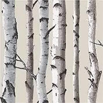 Erismann Paradiso Birch Tree Wallpaper 6305-10 White Grey