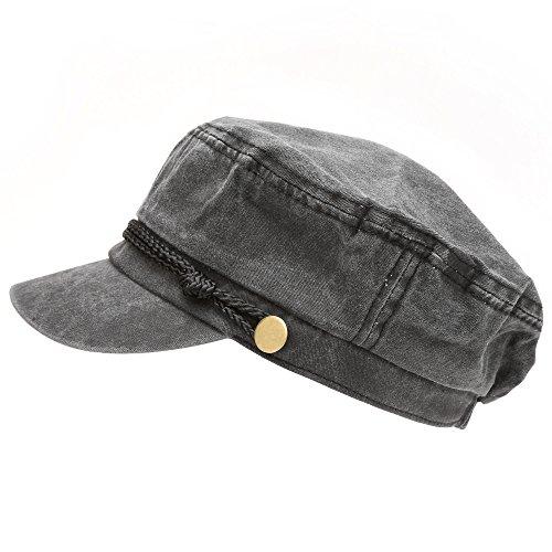 MIRMARU Women's 100% Cotton Greek Fisherman's Sailor Fiddler Hat Cap(4018-BLACK) -