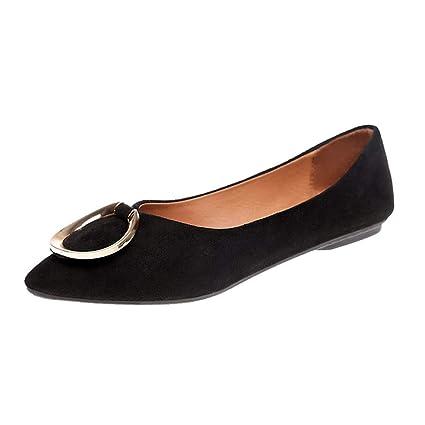 f20757358a1df Amazon.com: Women Flat Shoes Ladies Classics Square Heel Point Toe ...