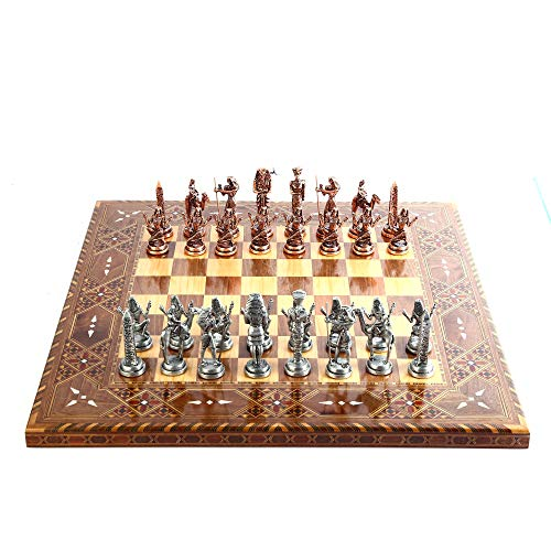 Ancient Egypt Pharaoh Antique Copper Figures Metal Chess Set for Adult and Kids Handmade Decorative Pieces and Natural Solid Wooden Chessboard with Original Pearl Around Board King 3.5 inc