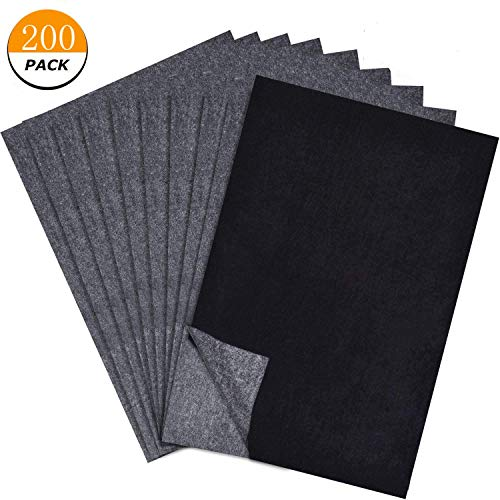 200 Sheets Carbon Paper Black Carbon Transfer (8.5 x 11.5 inch) Tracing Paper for Wood, Paper, Canvas and Other Art Surfaces ()