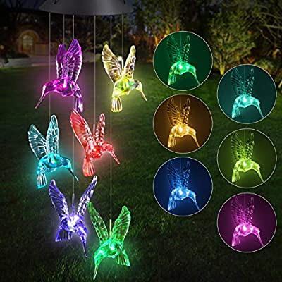 Solar LED Wind Chime Transparent Hummingbird Wind Chime Color-Changing Waterproof for Garden, Party, Decor Patio Yard Lawn etc