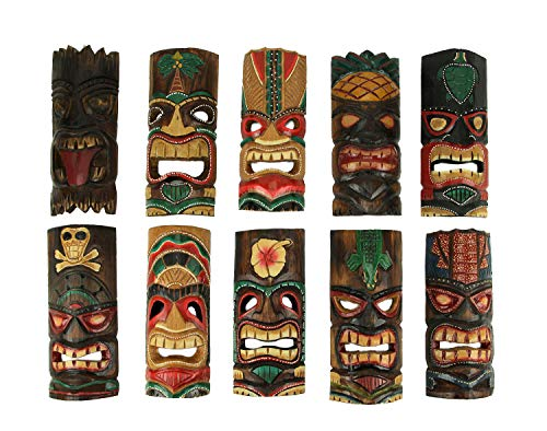 Zeckos Set of 10 Hand Carved Tropical Island Style Tiki Masks 12 Inch