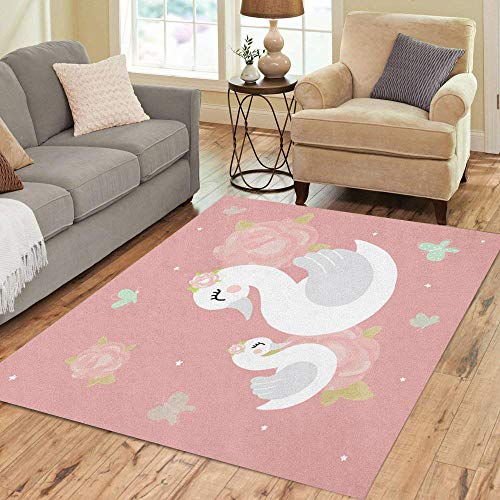 Semtomn Area Rug 2' X 3' Swan Mother Baby Girl Room Princess Cute on Pink Home Decor Collection Floor Rugs Carpet for Living Room Bedroom Dining Room