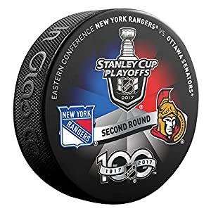 2017 NHL Stanley Cup Playoffs 2nd Round New York Rangers v Ottawa Senators Dueling Souvenir Hockey Puck