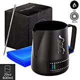 Milk Frothing Pitcher With Integrated Thermometer, 20oz/600ml Stainless Steel Non-Stick Teflon Milk Coffee Cappuccino Latte Art Barista Pitcher Milk Jug Cup,With Decorating Art Pen & Microfiber Cloth