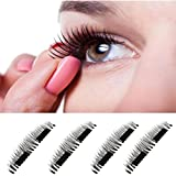 Sinwo Ultra-thin 0.4mm Magnetic Eye Lashes 3D Reusable False Eyelashes False Magnet Eyelashes (B, 1 Pair)