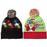 Windy City Novelties LED 发光针织丑毛衣圣诞节圣诞节无檐小便帽 - 3 种闪烁模式(FA La La La Beanie)