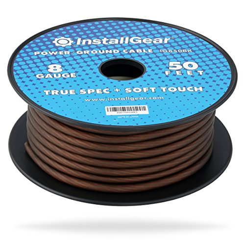 InstallGear 8 Gauge Black 50ft Power/Ground Wire True Spec and Soft Touch Cable on Spool (Wire Gauge 8 Ground)