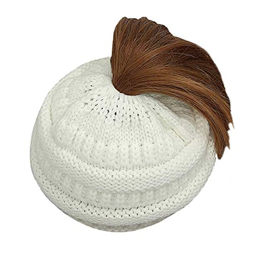 Lamdgbway Trendy Knit Hat Cable Beanie Stretch Chunky Warm Messy Ponytail Bun Hat (Chunky Cable Knit Hat)