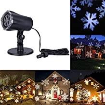Projection Lamp, Naladoo 4W White Pretty Snowflake Pattern Laser Light Moving Projector Outdoor Festival Party Home Decor