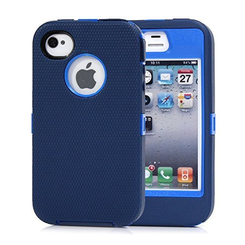 Huaxia Datacom for Iphone 4 4s Heavy Duty Shockproof Dirtproof Defender Case Cover w/ Built-in Screen Protector-green (Dark blue)