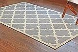 Rugolution Jacquard Loom Woven 5'x8' / 150x240 cm Gray Quatrefoil Pattern Pure Wool Area Rug, Style: 2535