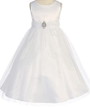 d54ea3f1b38 Amazon.com  Little Girls Satin Bodice Tulle Skirt Pageant Flower Girl  Dresses (20P8A) White 6  Clothing