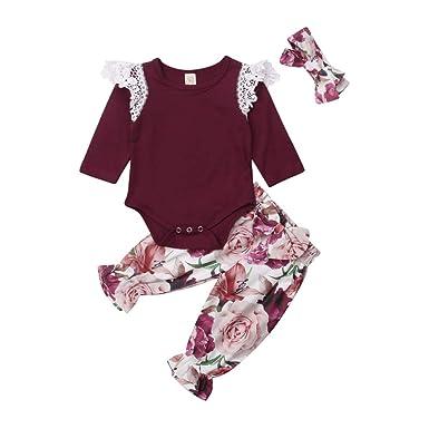 0f9a18bb54ba Amazon.com  Newborn Baby Girl Clothes Long Sleeve Bodysuit Romper ...