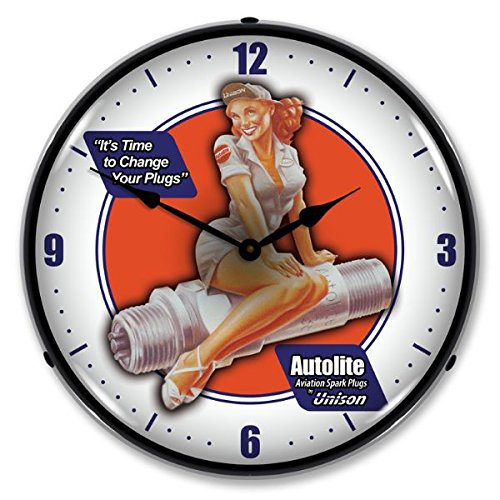 New Autolite Aviation Spark Plugs Retro Vintage Style Advertising Backlit Lighted Clock - Ships Free Next Business Day to Lower 48 States