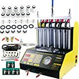 AUTOOL CT200 Petrol 6 Cylinder Car Motorcycle Fuel Injector Ultrasonic Cleaner & Tester Fuel Injection Leakage/Blocking Testing Machine Tool Kit 110V/220V (CT200+ Motorcycle Adapter)