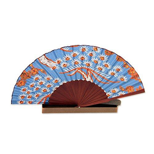 NOVICA Orange and Blue 100% Silk Batik Folding Fan, Balinese Springtime'