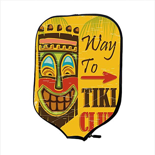 (Neoprene Pickleball Paddle Racket Cover Case,Tiki Bar Decor,Way to Tiki Club Vintage Poster Design Grunge Polynesian Exotic Retro Print Decorative,Multicolor,Fit For Most Rackets - Protect Your Paddle)