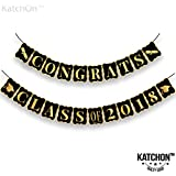 Congrats Class of 2018, Graduation Party Supplies 2018 - No DIY Required | Classy Graduation Banner for Graduations Decorations | Grad Party Decor, Seniors High School or Prom | Black and Gold, Large
