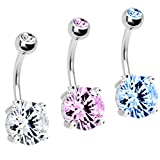 BodyJ4You 3 Belly Button Ring Big Cubic Zirconia