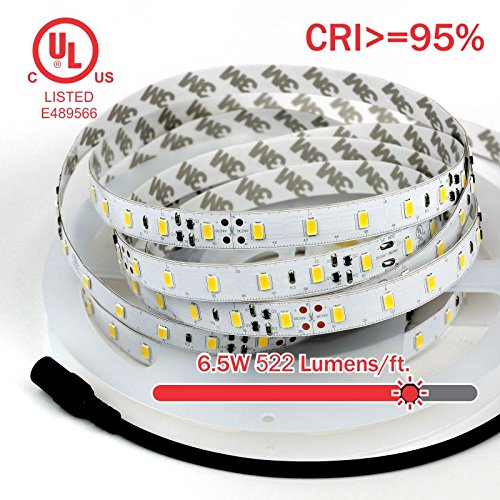 TECLED Platinum Series UL Listed LED Strip/Tape Light 16ft/5M 288x5630SMD High CRI>95% 6.5W/ft. 24vDC Input Premium Quality 580 Lumens/Ft 1/2