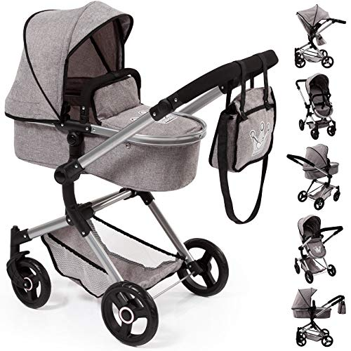 Bayer Design 18410AA Stroller, Doll Combi Pram Neo Vario with Changing Bag and Underneath Shopping Basket, Foldable, Swivel Front Wheels, Grey with Crown ()