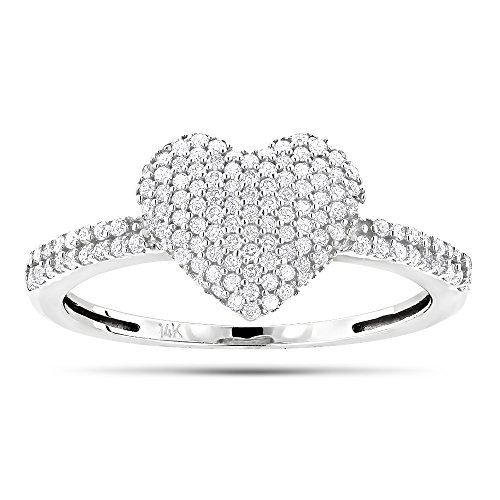 Diamond 18k White Gold Heart Ring - 4
