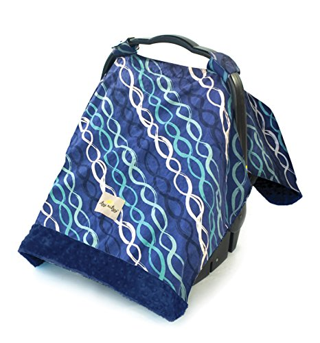 (Itzy Ritzy Car Seat Canopy – Infant Car Seat Cover Fits All Car Seats, Includes Toy Loops and Can Unfold Into a Soft Minky Tummy Time Mat, Indigo Helix)