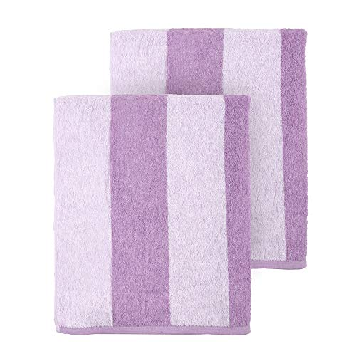 Arkwright LLC Clearwater Cabana Striped Oversized Beach Towel - Pack of 2 (30 x 70 inch, Lilac)
