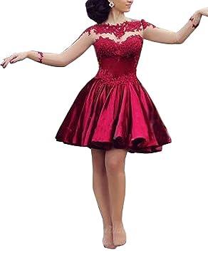Mujer Vestido de Fiesta Corto para Boda Vestido de Danza Manga Barga Vestido de Cóctel Vino