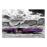 Startonight Canvas Wall Art Rusty Purple Car in Desert, Dual View Surprise Artwork Modern Framed Ready to Hang Wall Art 100% Original Art Painting 23.62 X 35.43 inch