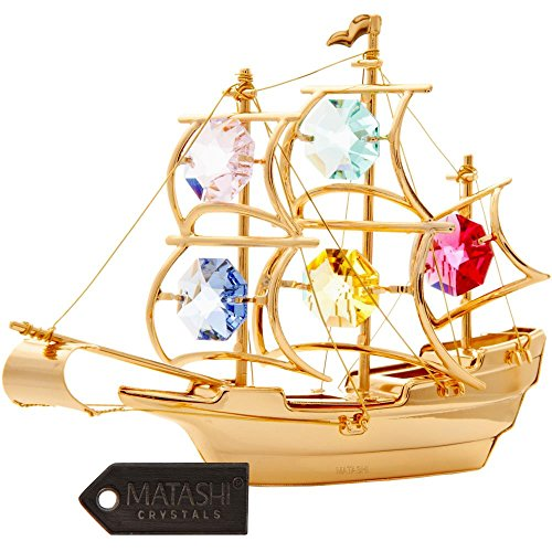 Matashi 24K Gold Plated Crystal Studded Mayflower Ship Ornament with Colored Crystals by ()