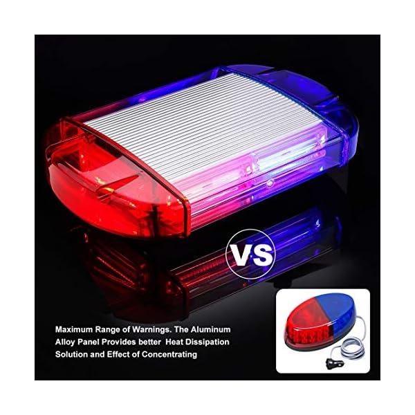 126 Luz Azul & rojo LED estroboscópica intermitentes para emergencia peligro advertencia vehículos de construcción luz minibar luz de advertencia luminosa con base magnética 4