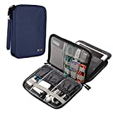 BUBM Electronics Organizer, Double Layer Electronics Bag Compatible with iPad Mini, Cables, Plugs, External Hard Drives and More, Dark Blue