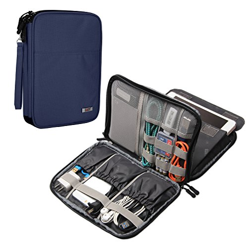 BUBM Electronics Organizer, Double Layer Electronics Bag Compatible with iPad Mini, Cables, Plugs, External Hard Drives and More, Dark Blue by BUBM