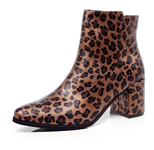 Chunky Leopard (DUNION Women's Active Slip On Zip Closure Chunky Heel Ankle Boot,Leopard Print,10 B(M) US)