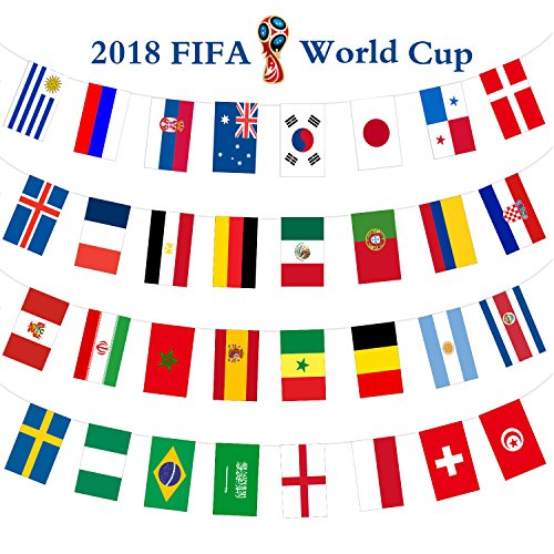 AOSTAR Country Flags Banner, 5.5 x 8.2 Large Size Set of 32 Country Flags for World Cup Decorations, Bars, Class or Sport Clubs