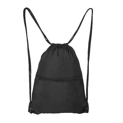 bdced7d4a96a Black Drawstring Backpacks for Men Women Gym bag