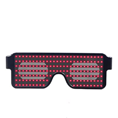 KIMTAN LED Glasses Party Favor Supplies Rechargeable LED Light Up Toy for Christmas,Party,Halloween,Festival,Weddings (Red): Toys & Games