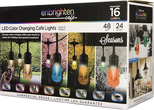 Enbrighten 37790 Vintage Seasons LED Warm White & Color Changing Café String Lights, Black, 48ft, 24 Premium Impact Resistant Lifetime Bulbs, Wireless, Weatherproof, Indoor/Outdoor, 48 ft, by Enbrighten (Image #11)