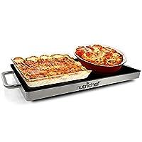 Placa caliente eléctrica para alimentos portátil - Bandeja de calentamiento de acero inoxidable Calentador de platos con tapa de cristal negro - Mantenga los alimentos calientes para servirlos en forma de buffet, Restaurante, fiestas, mesa o encimera -