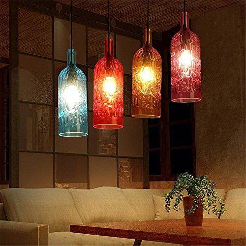 Creative 1 Head Colored Glass Wine Bottle Chandelier Bar Cafe Restaurant Ceiling Light Shop Home Decor Pendant Lamp,Blue/1027cm