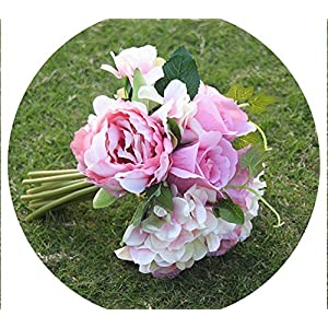 Jifnhtrs Wedding Bouquet Artificial Roses Peony Green Leaf Blush Pink Artificial Flower Bridal Bouquet for Wedding Mariage,Pink 3
