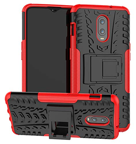- OnePlus 6T Case SunRemex Durable Armor Full Body Protective Resilient Shock Absorption Kickstand Design OnePlus 6T Phone (Red)