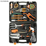 PATHONOR Garden Tool Set, 12 Piece Garden Heavy Duty Tools Set Kit with Hard Storage Case, Secateurs, Pruning Saw, Trowel Pruners, Rakes - Garden Gifts for Men & Women