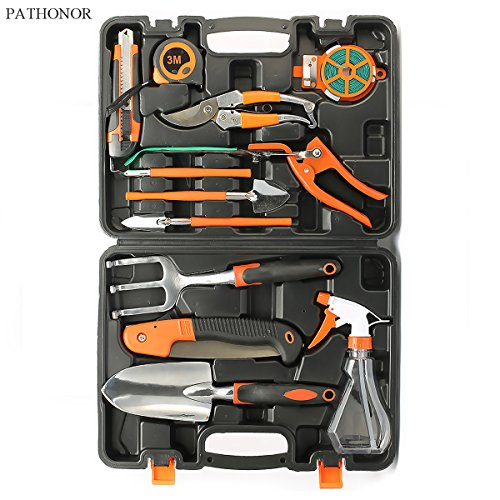 Garden Hand Tool Set PATHONOR 12 Piece Garden Tools Set Kit for Women Men with Hard Storage Case with Pruning Shear Saw Watering Can Trowel Shovel Rake Grass Shear Knife etc (Power Rake Grass)