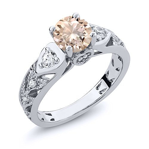 Oval Peach - 925 Sterling Silver Peach Morganite Women's Ring (1.86 Ctw Round Available in size 5, 6, 7, 8, 9)