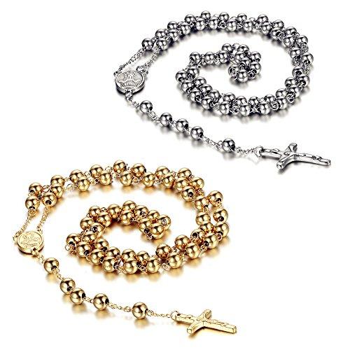 Crucifix Christ Jesus (Flongo 2PCS Womens Men's Stainless Steel 8mm Beads Jesus Christ Crucifix Cross Rosary Pendant Necklace, 37 inch ¡)